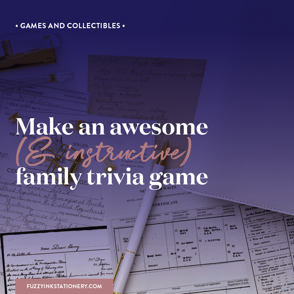 Fuzzy Ink Stationery | Games & Collectibles | Make an awesome (& instructive) family trivia game