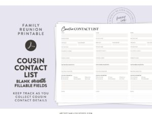 Family reunion printable. Cousin contact list - blank or with fillable fields. Keep track as you collect cousin contact details. Acrobat Reader Printable.