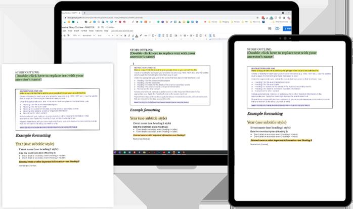 Ancestral Story Outline Template for Google Docs